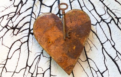 Iron key and heart